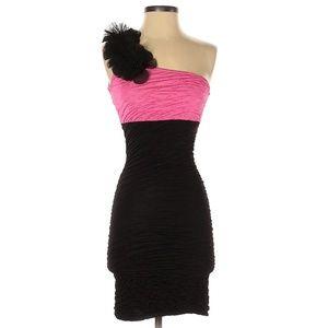Lipstik Pink & Black One Shoulder Cocktail Dress
